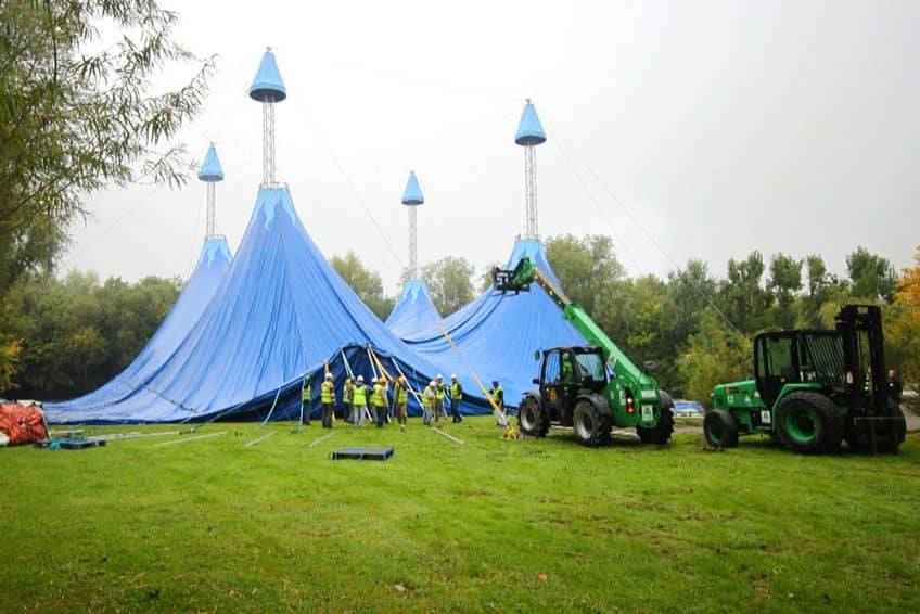 Giant big-top tent being raised at Chessington