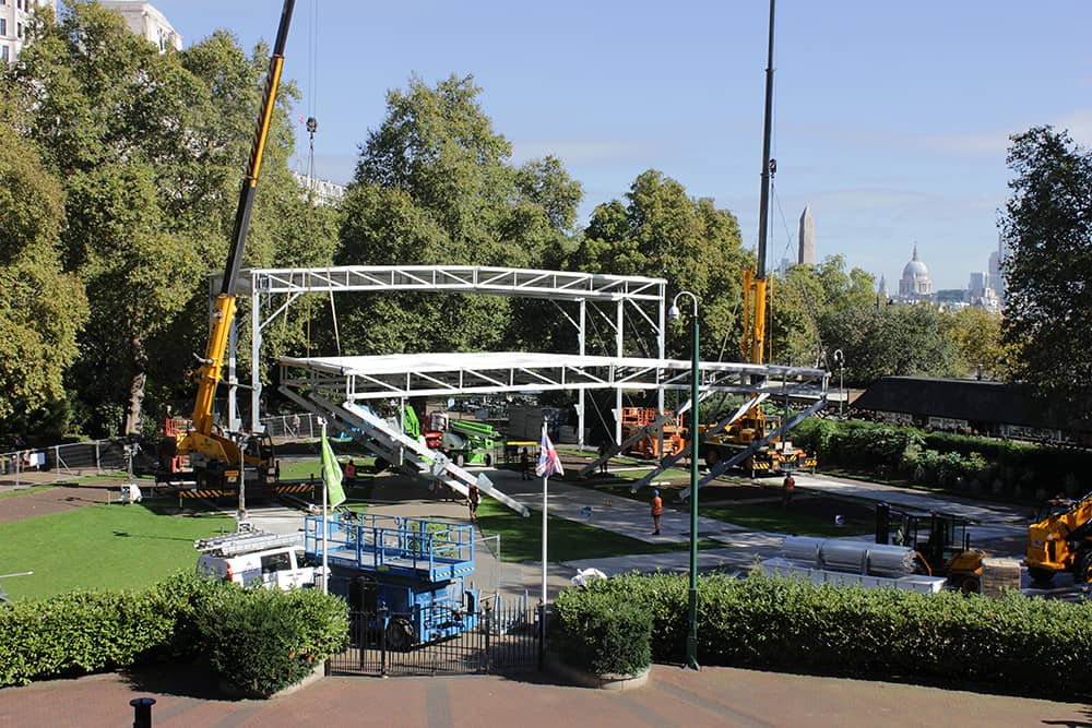 Structure of BFI's Embankment Garden Cinema being erected