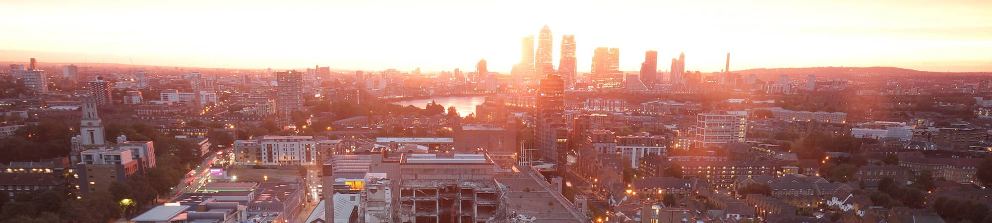 Sunrise over the City of London