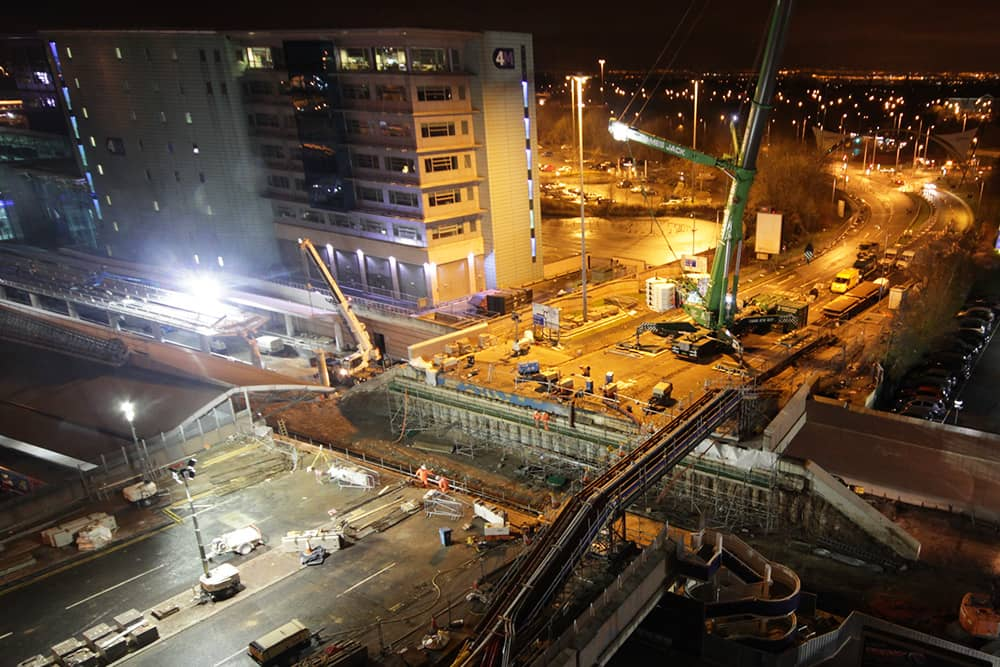 Night works at Manchester Airport