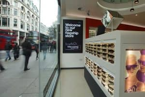 Rows of sunglasses inside the new Vision Express flagship store on Oxford Street