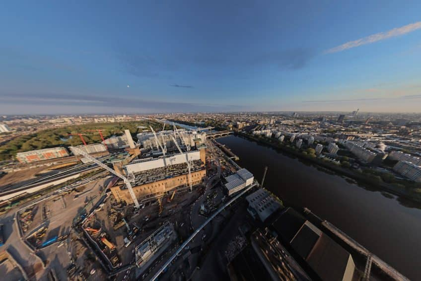 360° drone shot looking over Battersea Power Station and the River Thames