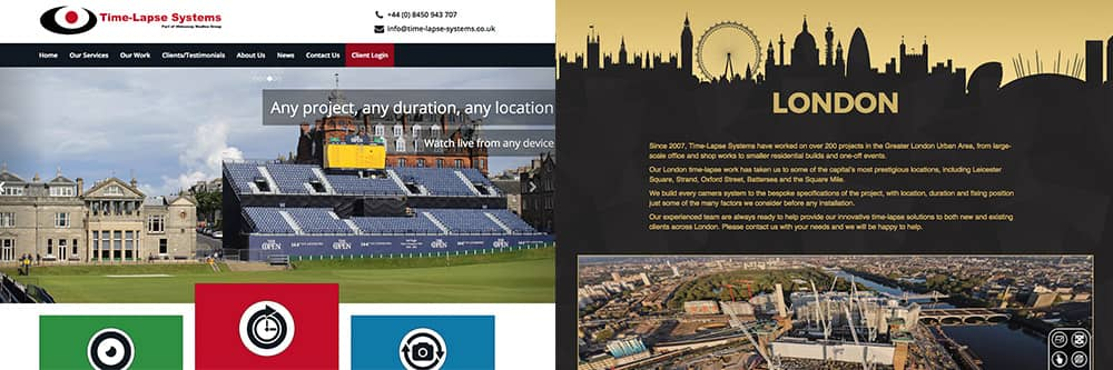 Screenshots from the home pages of Time-Lapse Systems and Time-Lapse London