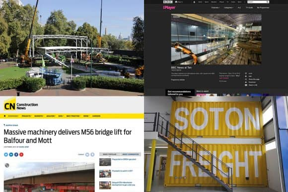 News thumbnails showing BFI London, Mary Rose, Construction News and Southampton Freight Services