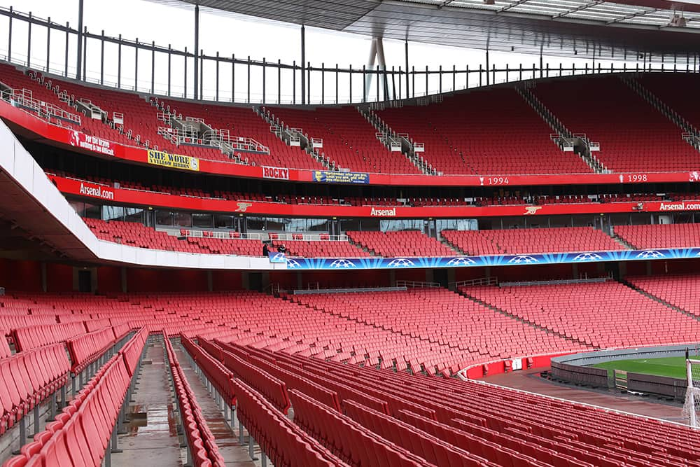 Arsenal's empty Emirates Stadium ahead of a Champions League game vs. AC Milan