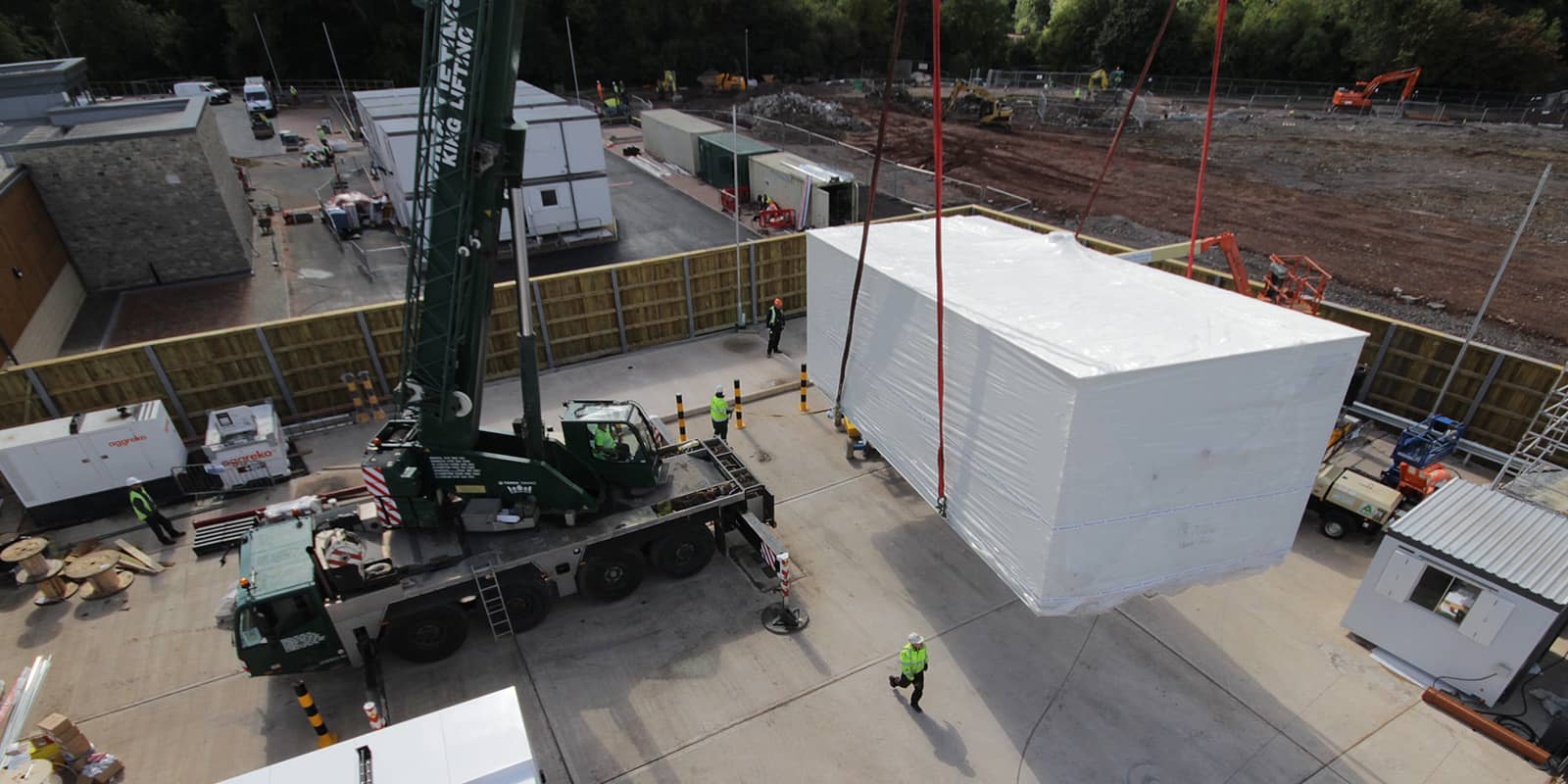 Weatherite plant room being deliver on site at the Chipping Sodbury branch of Waitrose