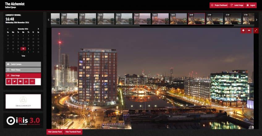 Screenshot of iRis 3.0 viewer overlooking Salford Quays in Manchester