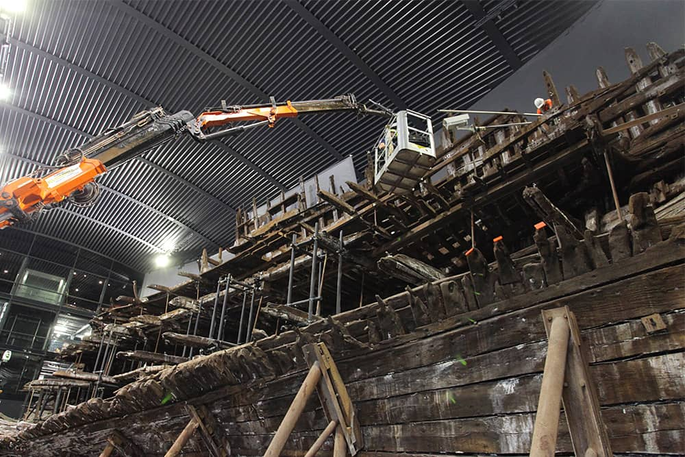 De-rigging a time-lapse camera system from the Mary Rose.