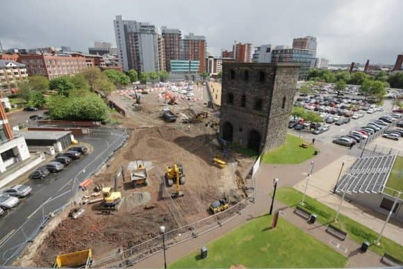 Pre-construction works on-site at MEPC's 10 Wellington Place office development in Leeds city centre.