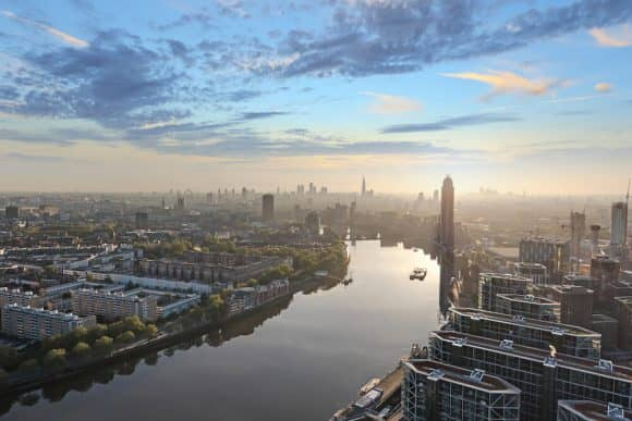 Looking down the River Thames towards the City of London