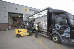 Southampton Freight Services lorry being loaded