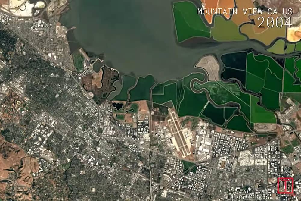 Aerial view from a Google satellite image as part of a time-lapse