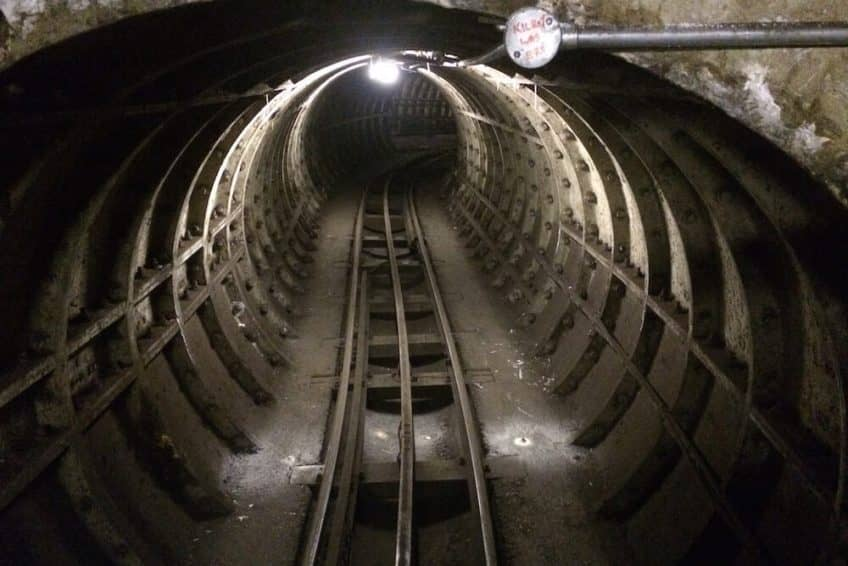 Image of the subterranean rail tunnels in central London.