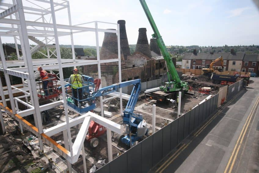 Construction of new structure at the old Enson works in Normacot, Stoke-on-Trent. Four bottle kilns are preserved, visible in the background of the shot.