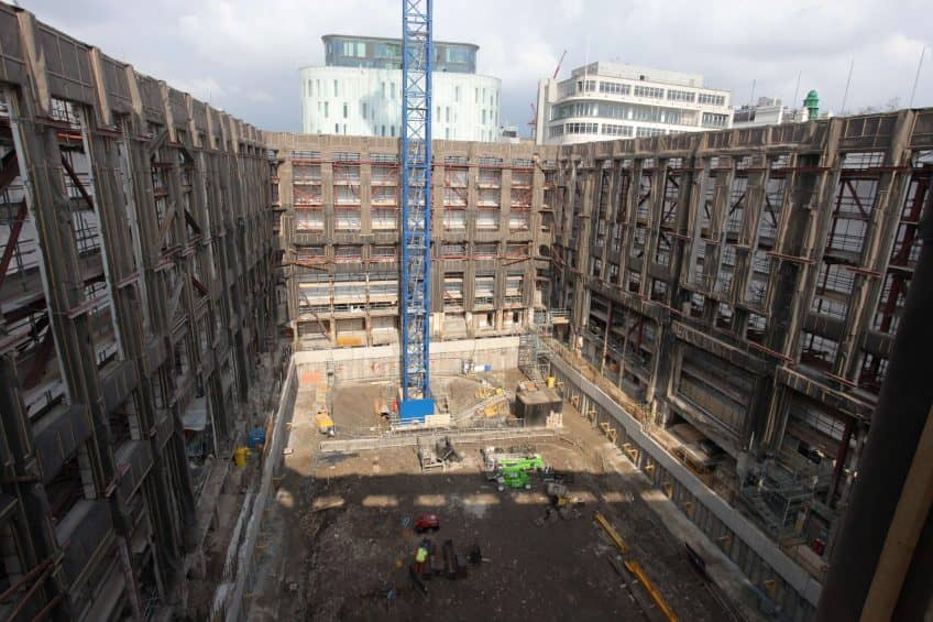 Looking down on a construction site at LSQLONDON.