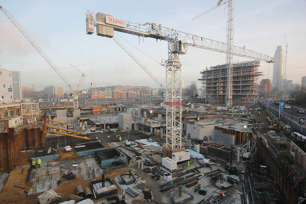 Still image from the Riverlight development at Nine Elms as an example of time-lapse for construction