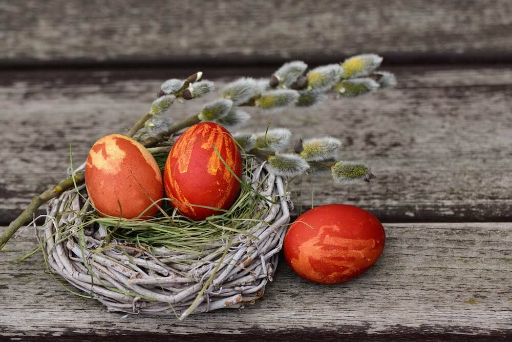 Image of three orange decorated eggs sitting atop a small nest.