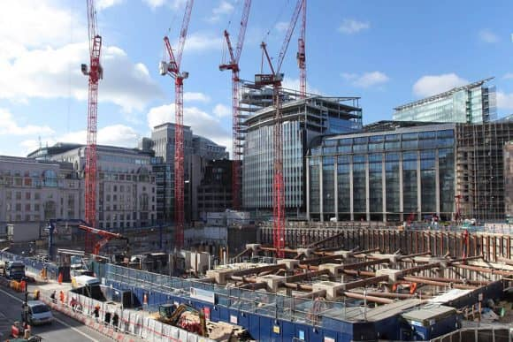 Cranes working on a construction project in central London