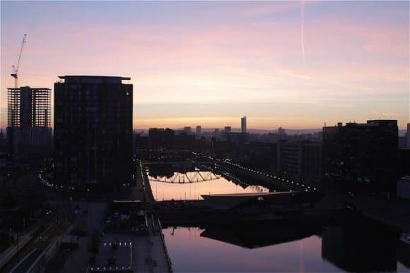 Overlooking The Alchemist on Salford Quays during golden hour