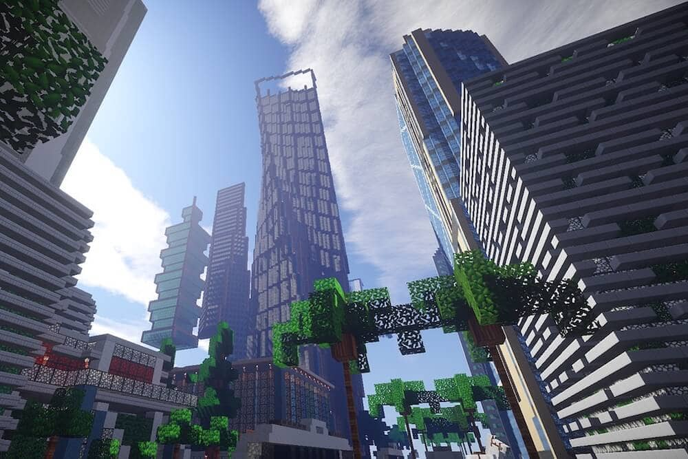 Shot looking up at skyscrapers created using sandbox video game, Minecraft.