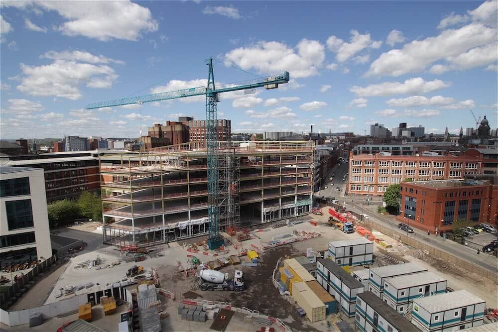 A crane in view with construction underway at Wellington Place for MEPC.