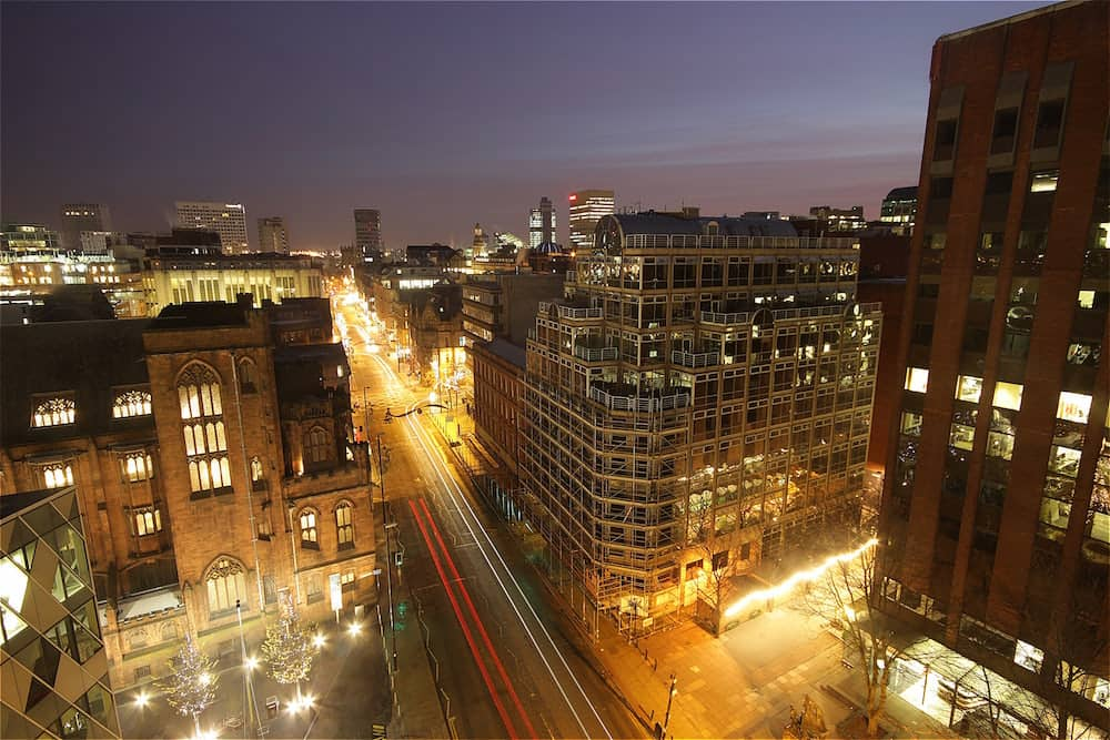 Aerial view of Manchester before sunrise.