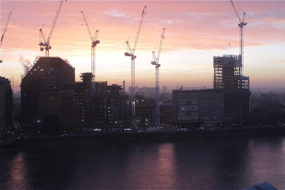 View of Albert Embankment construction project along the River Thames, London.