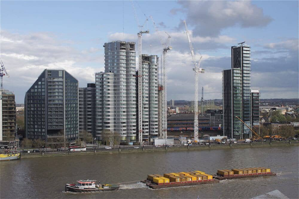Construction progress on Albert Embankment from across the Thames, central London.