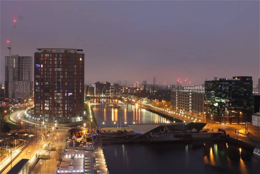Peaceful scene over Salford Quays.
