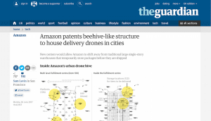 Screen shot of a Guardian article about Amazon's drone centre patent.