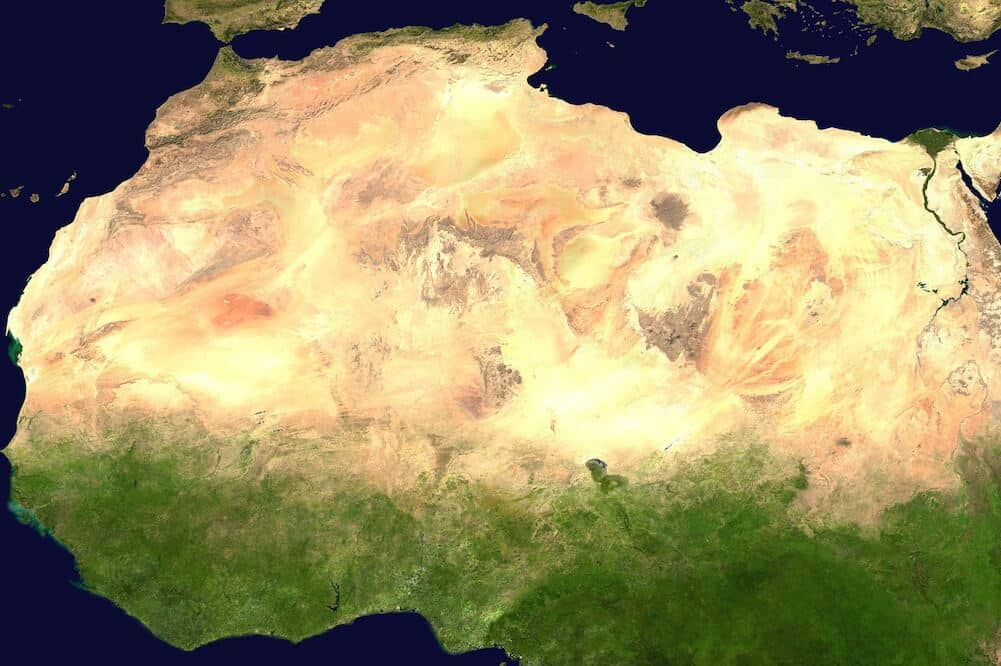 Satellite image of the Sahara desert.