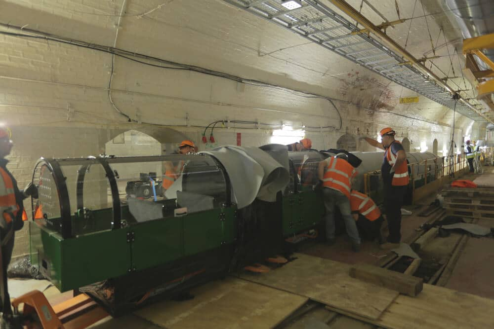 Mail Rail train being delivered and installed at The Postal Museum