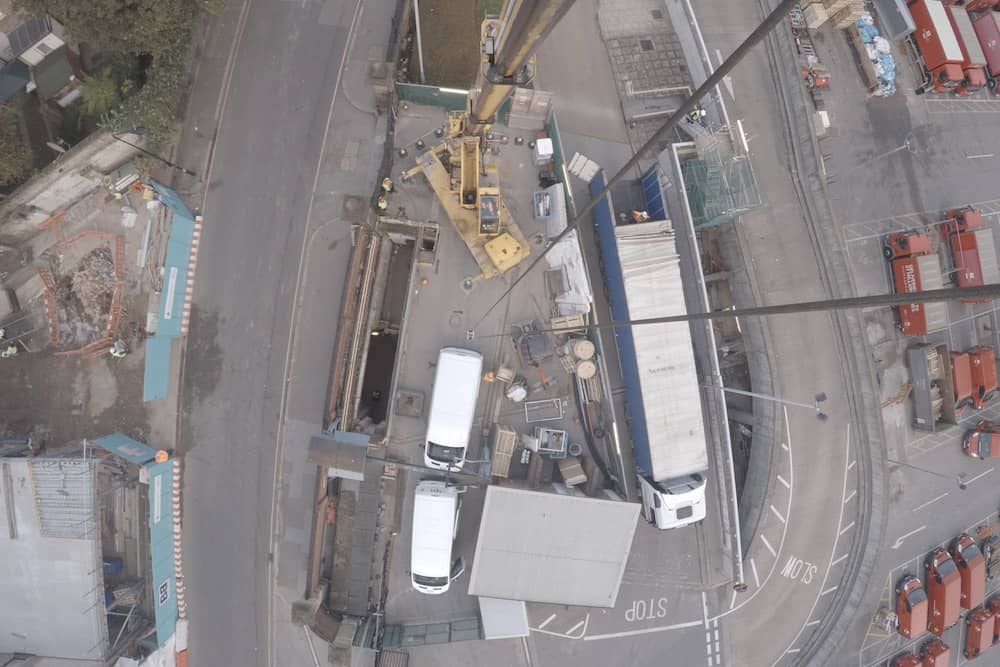 Aerial view from The Postal Museum crane