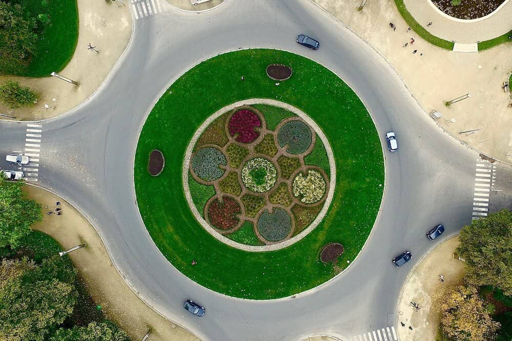Aerial view of a roundabout captured using a drone.
