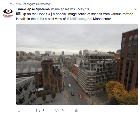 Screenshot showing one of our Tweets featuring a rooftop image of 125 Deansgate.
