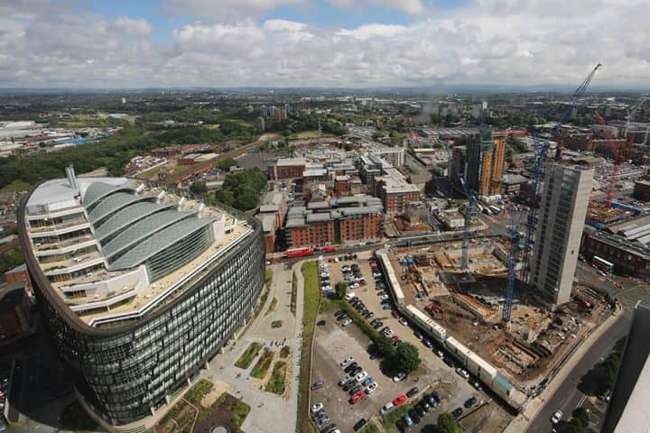 Aerial view of the NOMA development in Manchester, focusing on Angel Gardens.