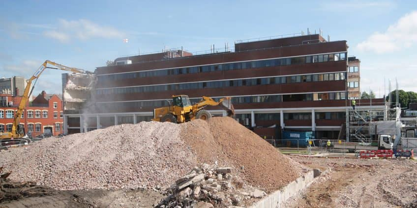 Materials Science Building being demolished at the University of Manchester