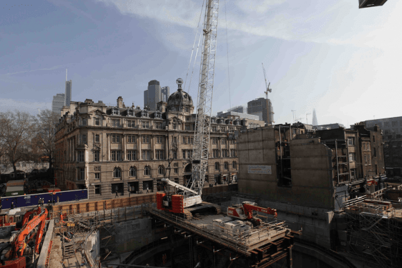 Rooftop view of extensive rail works we captured for Crossrail, central London.