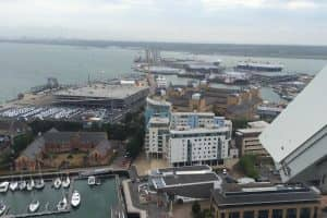 Rooftop view of Southampton Ocean Quays, featuring part of our time-lapse camera.