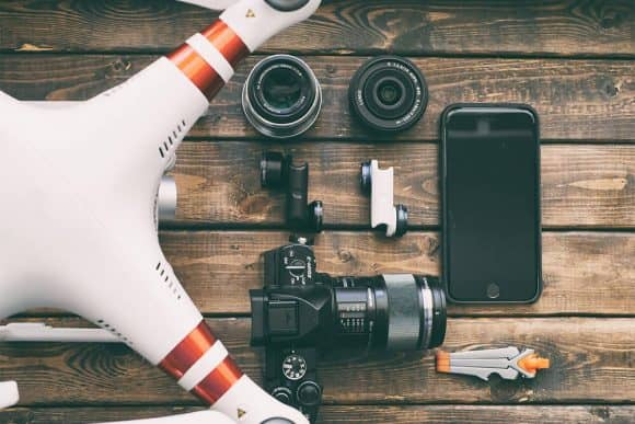A drone and selected camera equipment.