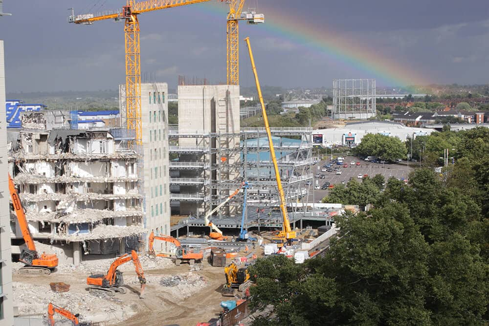 A rainbow over construction on site in Reading.