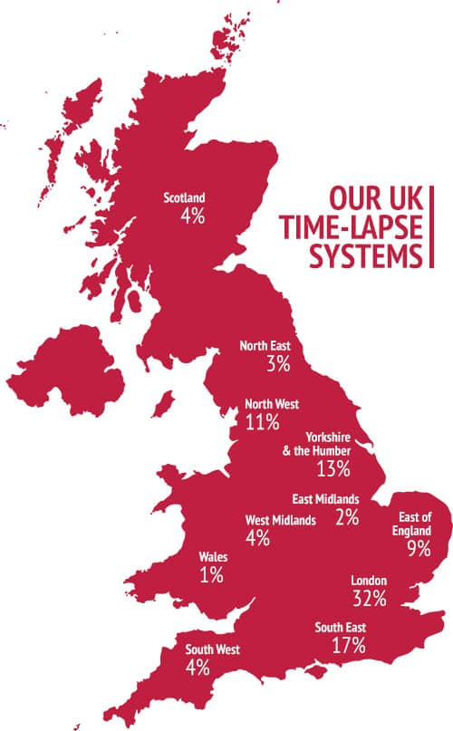UK map showing the percentage of our camera systems in each region