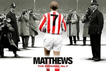 Promotional image depicting Sir Stanley Matthews walking onto a pitch, the cover of the new documentary about his life - MATTHEWS: The Original No. 7