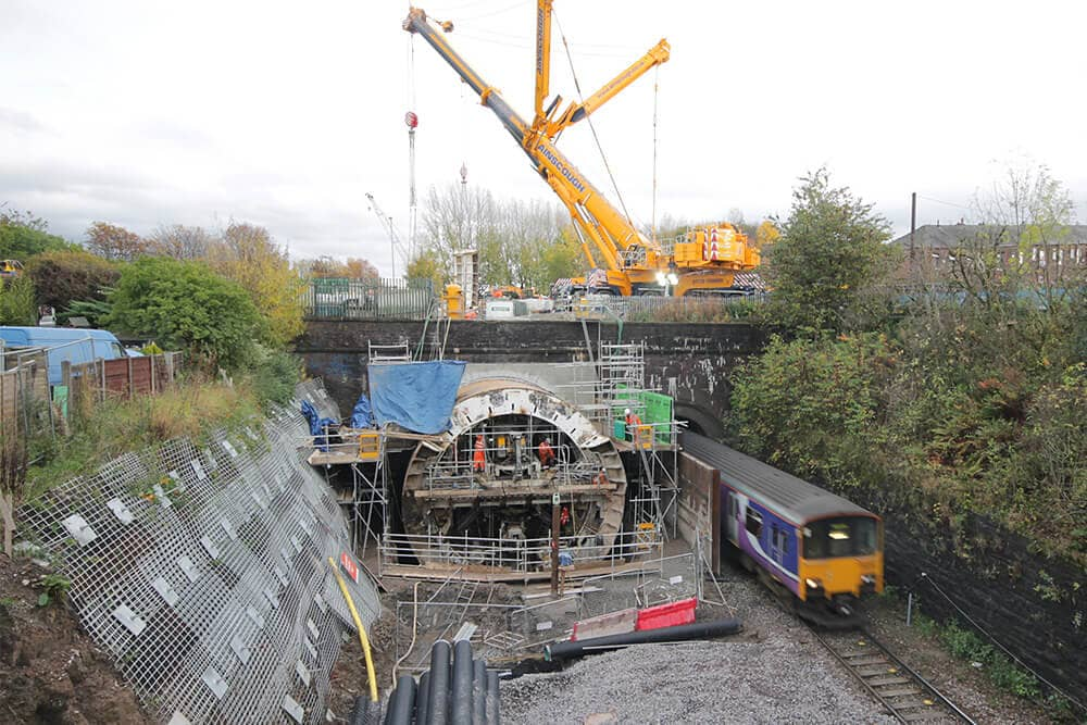 Elevated view of the Farnworth Tunnel boring works near Bolton
