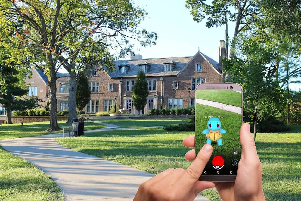 Smartphone showing the Pokémon Go app in action.