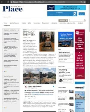 Screenshot of our Tweet featured in Place North West.