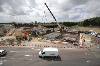 Time-lapse construction image capturing vital roadworks at Coast Road Junction.
