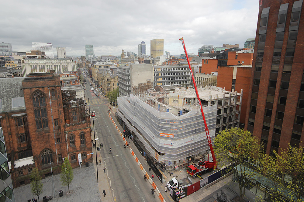 Time-lapse for demolition work at 125 Deansgate, Manchester
