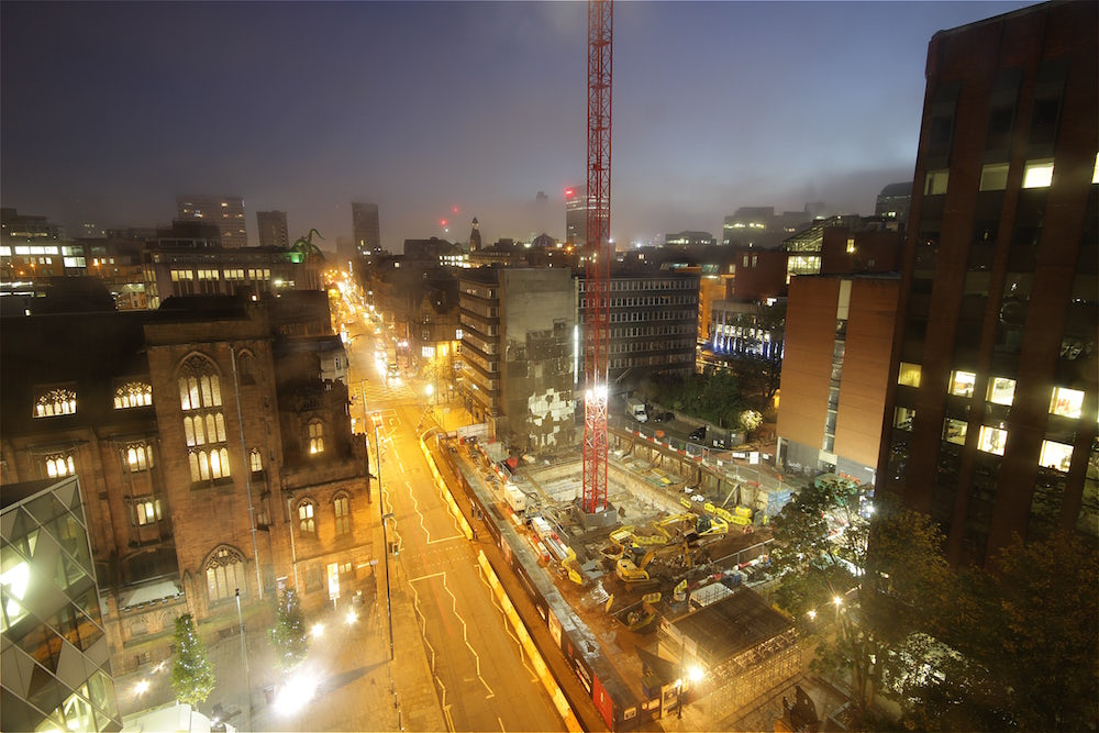 A foggy morning over one of our Manchester time-lapse construction projects, 125 Deansgate.