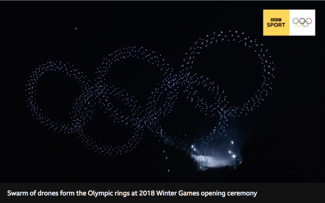 A screenshot of the video recording the spectacular drone display as part of the opening ceremony for the 2018 Winter Olympics.
